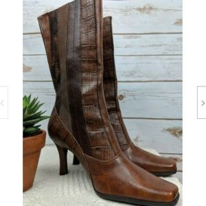 Transit Mid Calf Brown Boots Faux Leather